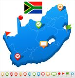 South Africa - map and flag - illustration Royalty Free Stock Photos