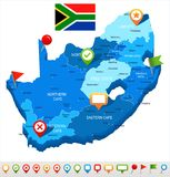 South Africa - map and flag - illustration Stock Photo