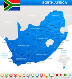South Africa - map and flag - illustration Royalty Free Stock Photo