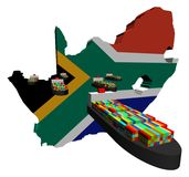 South Africa map flag with ships Royalty Free Stock Photography