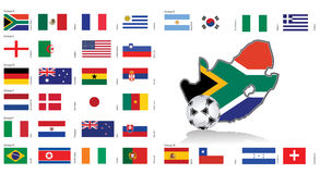 South Africa map and flags / Vector. South Africa 2010 map and flags. Vector File available Stock Photos