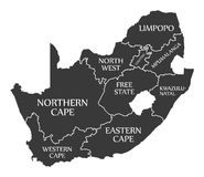 South Africa Map labelled black. Illustration Stock Photo