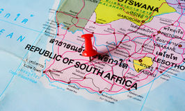 South africa map. Macro shot of south africa map with push pin royalty free stock images