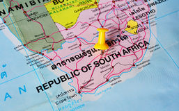 South africa map. Macro shot of south africa map with push pin stock photography