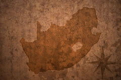South africa map on a old  crack paper background Stock Photos