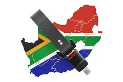 South Africa map with safety belt. Security and protect or insur. Ance concept, 3D Stock Photo