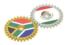 South Africa and Mexico relations concept, flags on a gears. 3D. Rendering isolated on white background Stock Images