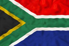 South Africa national flag with waving fabric royalty free stock photo