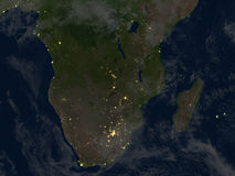 South of Africa at night on planet Earth Stock Photography