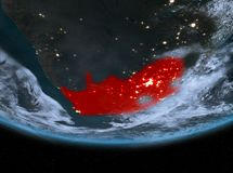 South Africa at night. Highlighted in red on planet Earth with clouds. 3D illustration. Elements of this image furnished by NASA Stock Photography