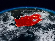 South Africa at night. South Africa from space at night on Earth with visible country borders. 3D illustration. Elements of this image furnished by NASA royalty free stock photography
