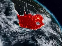 South Africa at night. South Africa from space at night with visible country borders. 3D illustration. Elements of this image furnished by NASA Royalty Free Illustration