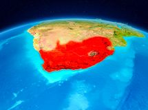 South Africa from orbit. Satellite view of South Africa highlighted in red on planet Earth. 3D illustration. Elements of this image furnished by NASA Royalty Free Stock Image