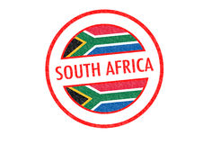 SOUTH AFRICA. Passport-style SOUTH AFRICA rubber stamp over a white background Stock Photos