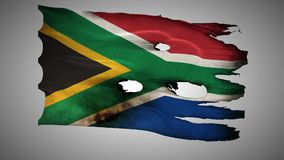 South Africa perforated, burned, grunge waving flag loop alpha stock video