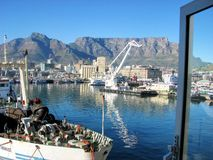 South Africa port. Amazing water and city view from south African docks Stock Image