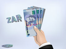 South africa rand money paper on hand,cash on hand Royalty Free Stock Photo