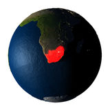 South Africa in red on Earth isolated on white Stock Photography