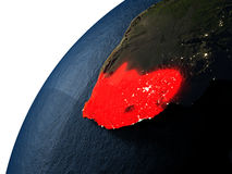 South Africa in red on Earth at night Royalty Free Stock Image