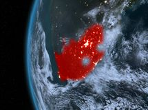 South Africa in red at night. Night map of South Africa as seen from space on planet Earth. 3D illustration. Elements of this image furnished by NASA Stock Photography