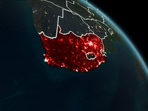 South Africa in red at night. South Africa from orbit of planet Earth at night with visible borderlines and city lights. 3D illustration. Elements of this image Royalty Free Stock Images