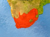 Map of South Africa. South Africa in red on realistic map with embossed countries. 3D illustration. Elements of this image furnished by NASA Stock Photo
