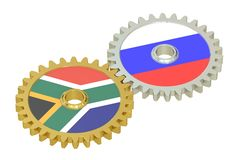 South Africa and Russia relations concept, flags on a gears. 3D. Rendering isolated on white background Royalty Free Stock Images