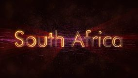 South Africa - Shiny looping country name text animation stock photo