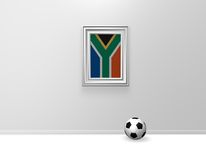 South africa soccer. Framed south africa flag on wound and soccer ball - 3d illustration Stock Image