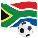 South Africa soccer. Illustration of a South African national flag with a soccer (football) ball, symbolizing the 2010 World Cup Stock Image