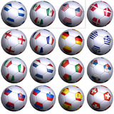 South Africa Soccer Wold Cup, first 16 nations. Sixteen soccer balls of Nations competing in the Soccer World cup in South Africa 2010. North America, Central Royalty Free Stock Photography