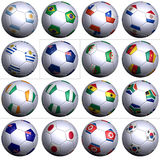 South Africa Soccer Wold Cup, second 16 nations. Sixteen soccer balls of Nations competing in the Soccer World cup in South Africa 2010. South America with five Stock Images