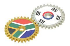 South Africa and South Korea flags on a gears, 3D rendering. Isolated on white background Stock Photography