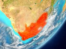 South Africa from space. Satellite view of South Africa highlighted in red on planet Earth with clouds. 3D illustration. Elements of this image furnished by NASA Stock Photo