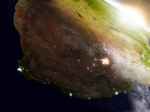 South Africa from space during sunrise Royalty Free Stock Images
