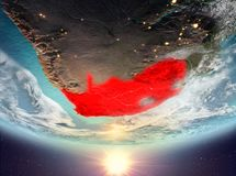 South Africa with sun. South Africa during sunrise highlighted in red on planet Earth with clouds. 3D illustration. Elements of this image furnished by NASA Stock Photo