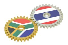 South Africa and Thailand relations concept, flags on a gears. 3. D rendering isolated on white background Stock Photo