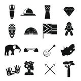 South Africa travel icons set, simple style Royalty Free Stock Photography