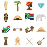 South Africa travel icons set vector flat. South Africa travel icons set. Flat illustration of 16 South Africa travel vector icons isolated on white background Royalty Free Stock Images