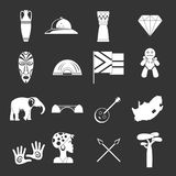 South Africa travel icons set grey vector. South Africa travel icons set vector white isolated on grey background Stock Photography