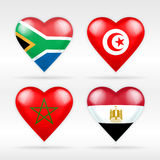 South Africa, Tunisia, Morocco and Egypt heart flag set of Asian states Stock Photos