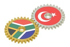 South Africa and Turkey relations concept, flags on a gears. 3D. Rendering isolated on white background Royalty Free Stock Photography