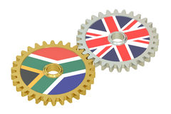 South Africa and United Kingdom relations concept, flags on a ge. Ars. 3D rendering Royalty Free Stock Photos