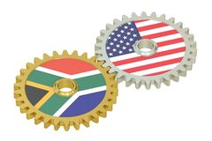 South Africa and United States relations concept, flags on a gea. Rs. 3D rendering isolated on white background Stock Image