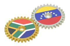 South Africa and Venezuela relations concept, flags on a gears. 3D rendering isolated on white background Royalty Free Stock Photo