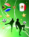 South Africa versus Mexico on Abstract Green Stars Background Stock Image