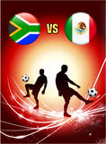South Africa versus Mexico on Abstract Red Light Background Royalty Free Stock Photography