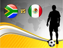 South Africa versus Mexico on Abstract World Map Background Stock Photo