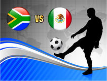 South Africa versus Mexico on Blue Abstract World Map Background Royalty Free Stock Photo