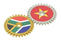South Africa and Vietnam relations concept, flags on a gears. 3D. Rendering isolated on white background Royalty Free Stock Photos